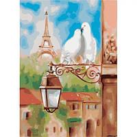 """Набір для розпису по номерах. Міський пейзаж """"Весна в Парижі"""" 36х50см"""