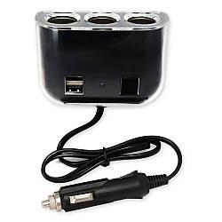 Разветвитель прикуривателя на 2 гнезда « K358 » — 2 USB — 2.1A — White