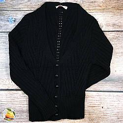 Чёрная вязанная кофта на пуговицах для девочек Размер: 9,10,11 лет (8926)
