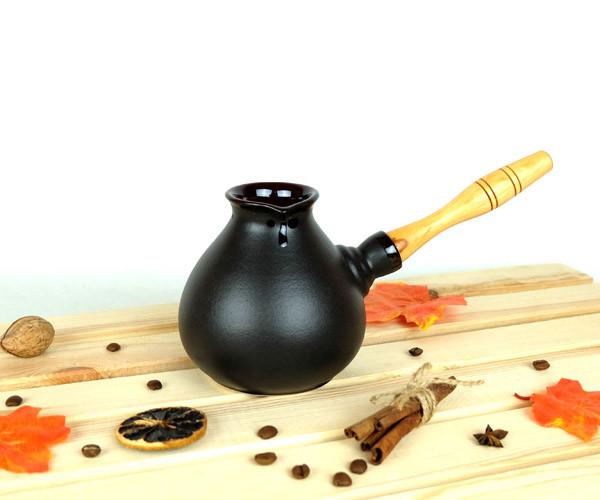 Турка Капля керамическая с деревянной ручкой 500 мл