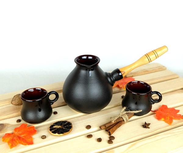 Турка Капля керамическая с деревянной ручкой и двумя чашками 500 мл