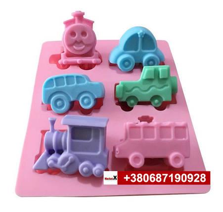 Харчова силіконова форма дитячі іграшки машинки паровозики, фото 2