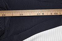 Ткань костюмная полоса, темно синий , полоса узкая № 407 (осень не плотная, не стрейч), фото 1