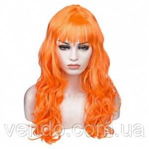 Парик волнистый длинный с челкой оранжевый 62 см