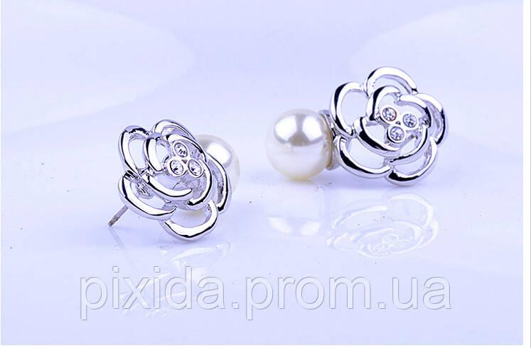 Сережки роза с жемчужиной покрытие 18К платина