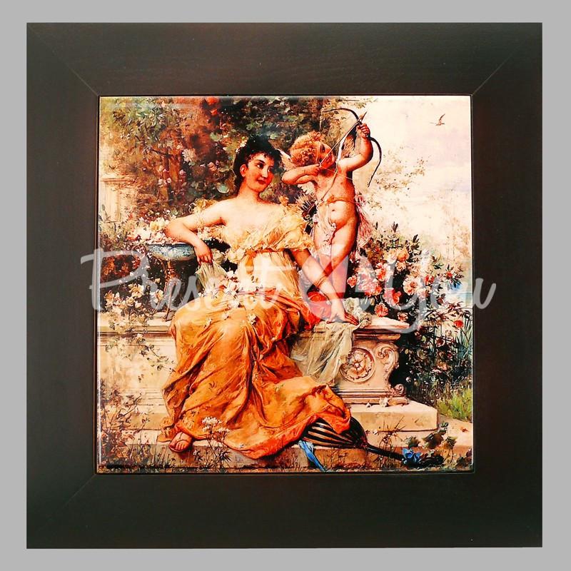 Панно настенное 'Девушка с Амуром в парке', 20х20, 28х28 см.