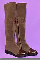 Ботфорты женские замшевые зимние коричневые на меху