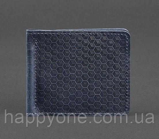 Кожаный зажим для денег 1.0 Карбон (синий)