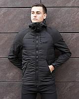 Куртка мужская стеганая с капюшоном Pobedov Soft Shell Combi черная