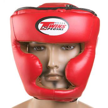 Закрытый красный шлем для единоборства фирмы Twins с внутренней кожаной подкладкой, размер  XL