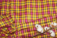 Ткань костюмная плательная клетка, натуральные волокна, слабый стрейч (5%эластана) №309, фото 1