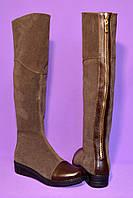 Ботфорты демисезонные замшевые коричневые на низкой подошве, фото 1
