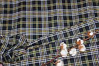 Ткань костюмная плательная клетка, натуральные волокна, слабый стрейч (5%эластана) №305, фото 1