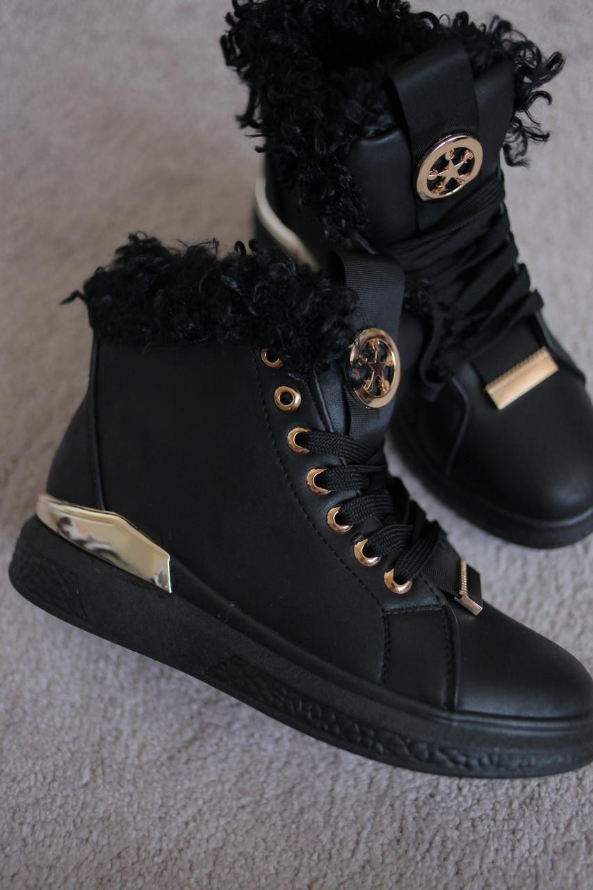 Женские ботинки черные с опушкой каракуля на меху  утепленные золото 36-41