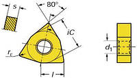 Пластина WNUM - 060308 Т15К6(Н10) трёхгранная ломаная(80°) dвн=4мм (02114) со стружколомом