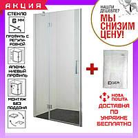 Душевая дверь в нишу 100 см распашная на петлях Eger 599-701 прозрачное стекло  + Банное полотенце