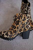 Женские ботинки леопард трактор каблук  мех осень-зима Европа  36-41
