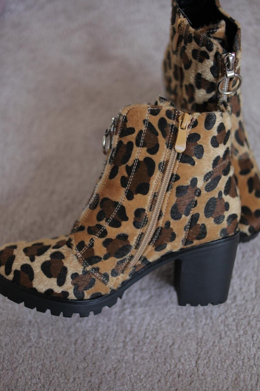 Женские ботинки леопард трактор каблук  мех осень-зима Европа  37-41