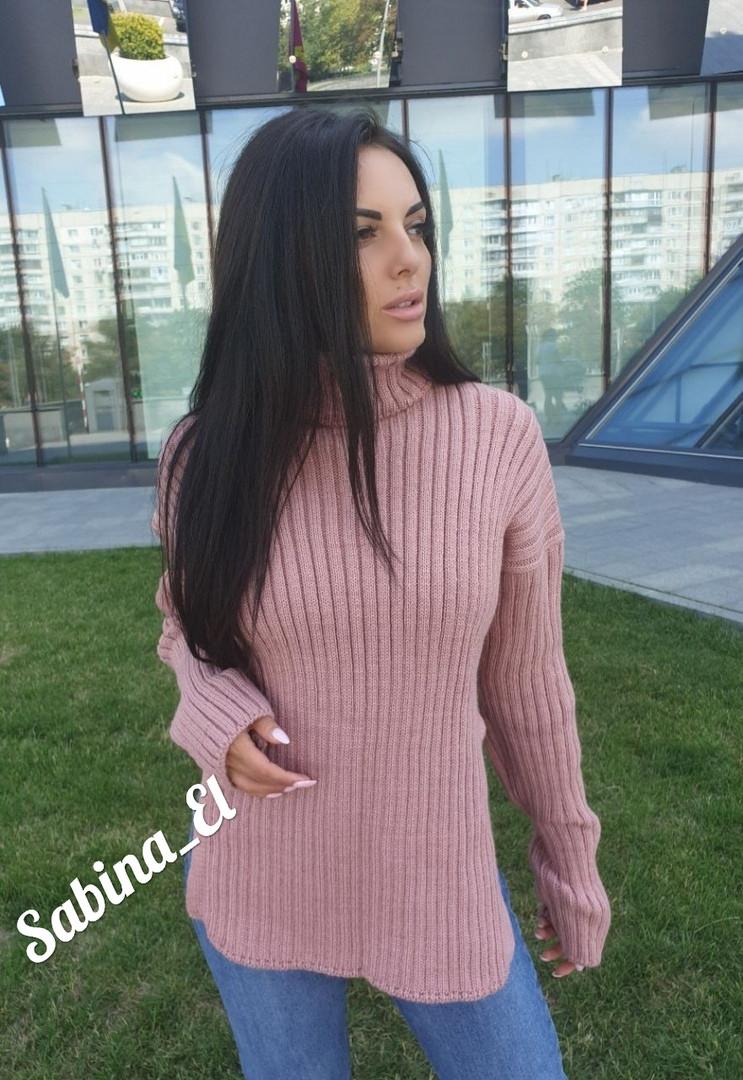 Женский свободный свитер с высокой горловиной и разрезами по бокам 7ddet554