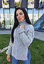 Женский свободный свитер с высокой горловиной и разрезами по бокам 7ddet554, фото 2