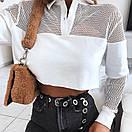 Женский белый топ с сеткой и рубашечным воротником 65ddet557, фото 2