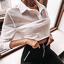 Женский белый топ с сеткой и рубашечным воротником 65ddet557, фото 3