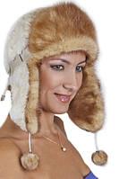 Женская шапка ушанка из меха Рекса с Норкой Yn-20  Песочный