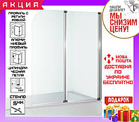 Шторка для ванны 120 см Eger 599-121CH стекло прозрачное