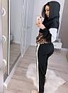 Женский спортивный костюм с вставками леопардового принта и капюшоном 20spt716, фото 4