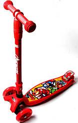 Самокат Maxi Scooter Disney Супер Герои Marvel Avengers с наклоном руля складной ручкой