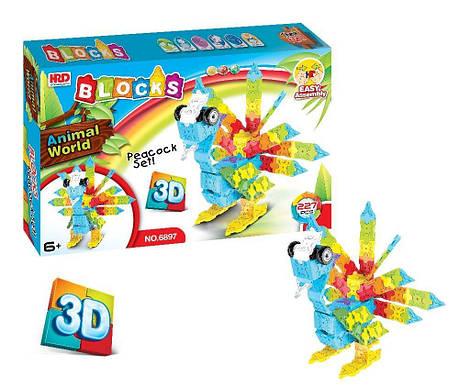 3D-конструктор Animal World - Попугай, 227 деталь, фото 2