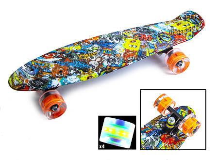 """Penny Board """"Graffiti"""" Sponge Bob. Светящиеся колеса., фото 2"""