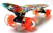 """Penny Board """"Graffiti"""" Sponge Bob. Светящиеся колеса., фото 3"""