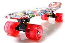 "Penny Board ""Graffiti"" NBA. Светящиеся колеса., фото 2"