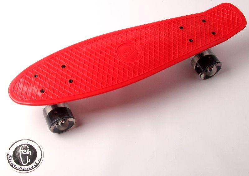 """Penny Board """"Fish"""" Красный цвет. Светящиеся колеса."""