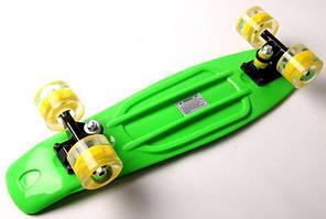 "Penny Board ""Fish"" Салатовый цвет. Светящиеся колеса., фото 3"