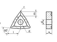 Пластина WNUM - 060304 Т15К6 трёхгранная ломаная dвн=4мм (02114) со стружколомом