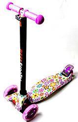 Детский самокат MAXI. Violet Flowers. Светящиеся фиолетовые колеса!
