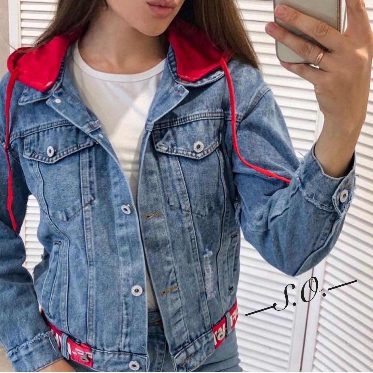 Модная женская куртка джинсовка с капюшоном Разные цвета