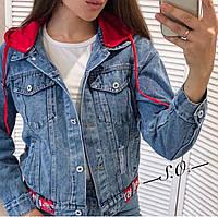 Модная женская куртка джинсовка с капюшоном Разные цвета, фото 1
