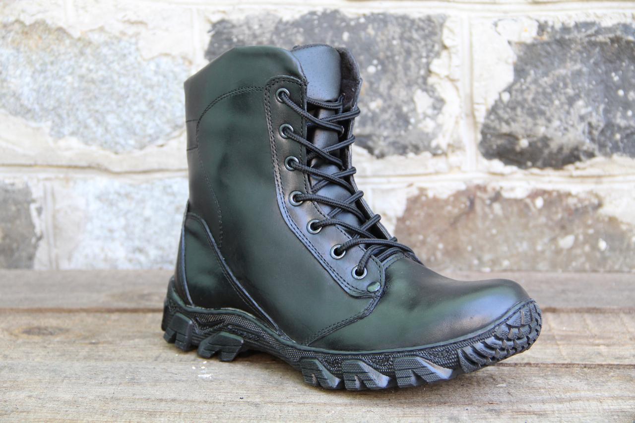 Тактические ботинки из натуральной кожи и меха - черный ботинок енерджи на молнии