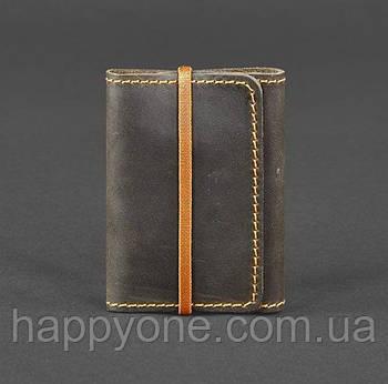 Кожаный кард-кейс 1.1 (темно-коричневый с оранжевым)