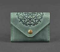 Кожаный кард-кейс 3.0 с мандалой (зеленый), фото 1