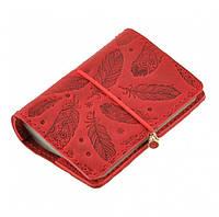 Женский кожаный кард-кейс 7.0 с перьями (коралловый), фото 1