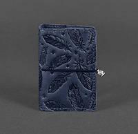 Женский кожаный кард-кейс 7.0 с перьями (синий), фото 1