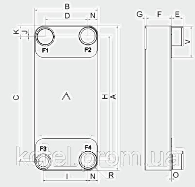Паяный теплообменник-испаритель Swep V 400Т― схема, размеры