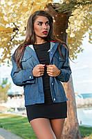 Джинсовая женская куртка с принтом батал