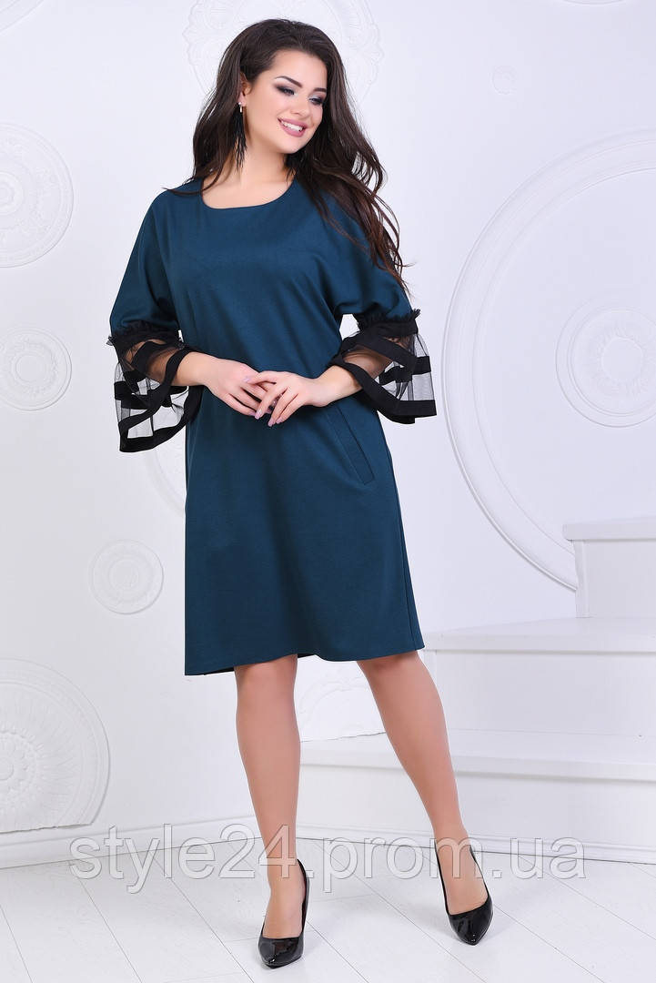 Батальне  плаття з сіткою на рукавах , 6 кольорів .Р-ри 50 -56