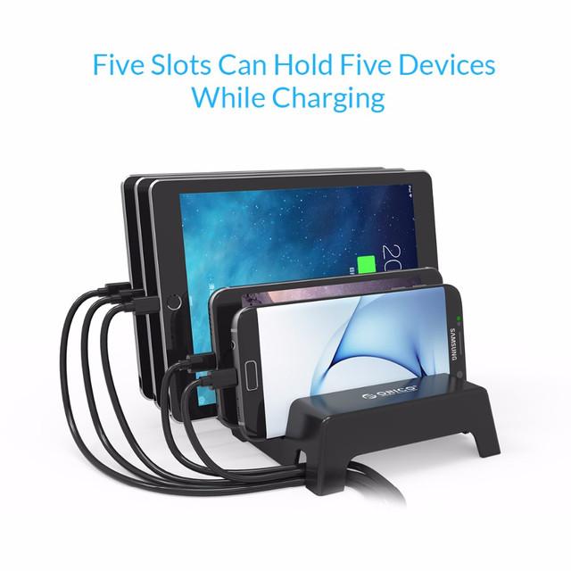 Универсальная настольная подставка держатель для телефонов и планшетов на 5 слотов Orico DK305 (Черная)