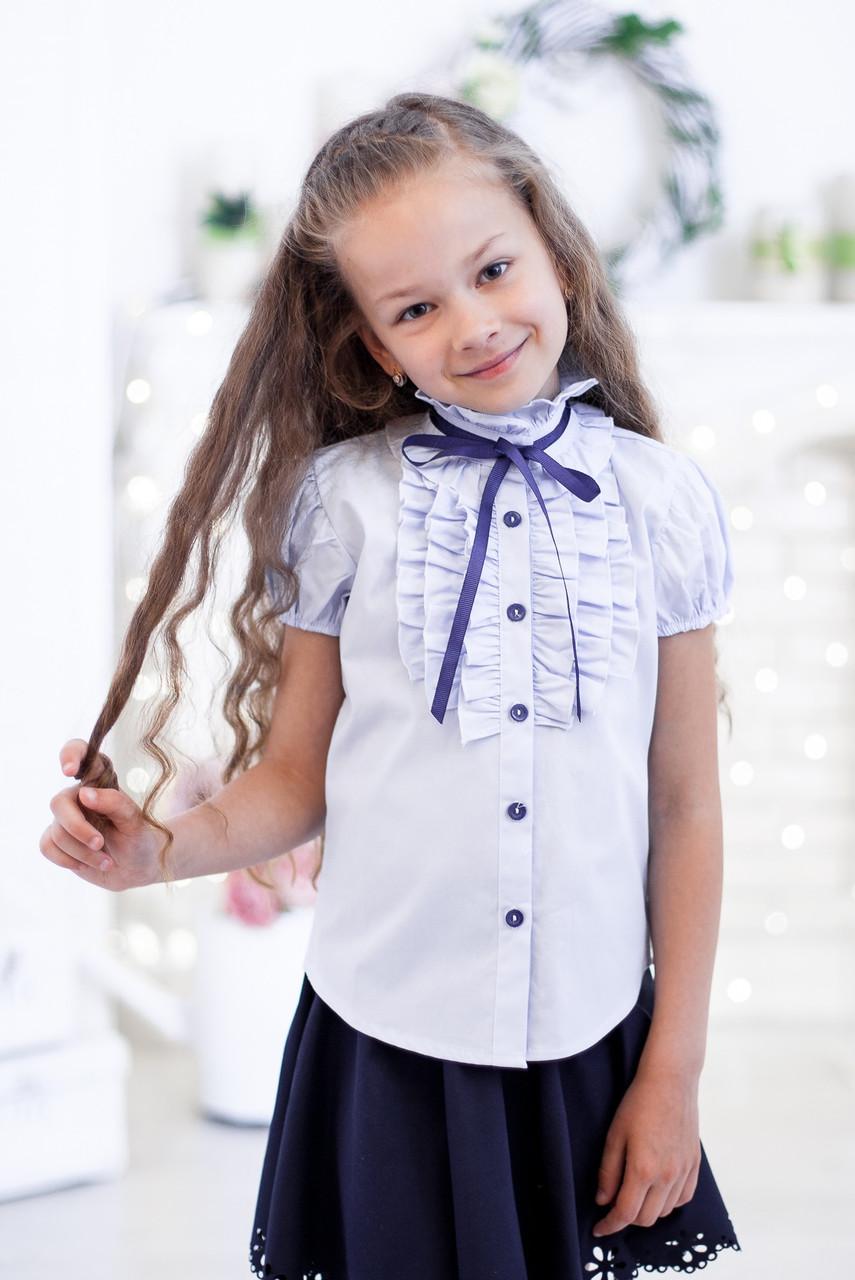 Школьная блузка Свит блуз мод. 2071к в голубом,  короткий рукав р.146